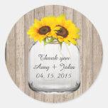 Mason jar sunflower wedding tags sunflwr6 round stickers