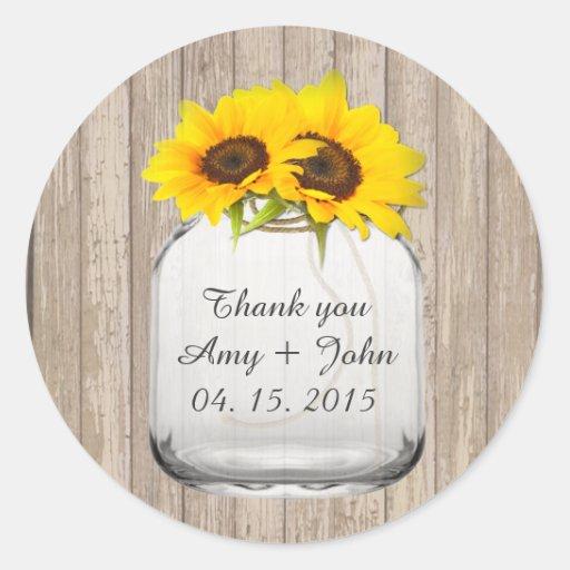 Mason jar sunflower wedding tags sunflwr6 sticker