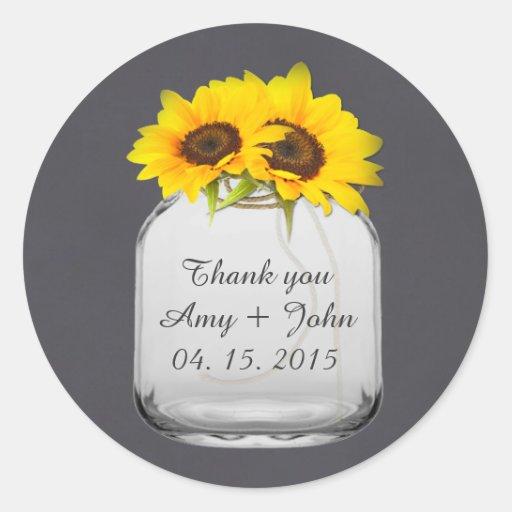 Mason jar sunflower wedding tags sunflwr7 round stickers