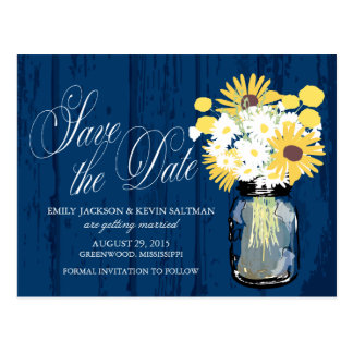 Mason Jar Sunflowers and Daisies Save the Date Postcard