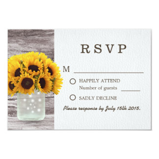 "Mason Jar Sunflowers Barn Wood Wedding RSVP 3.5"" X 5"" Invitation Card"