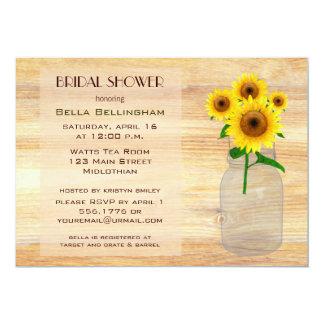Mason Jar Sunflowers Bridal Shower Invitation