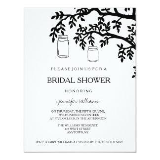 Mason jar tree bridal shower invitations