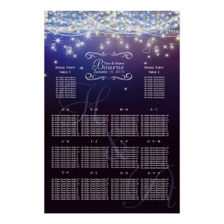 Mason Jar Under the Stars Wedding Seating Chart Poster
