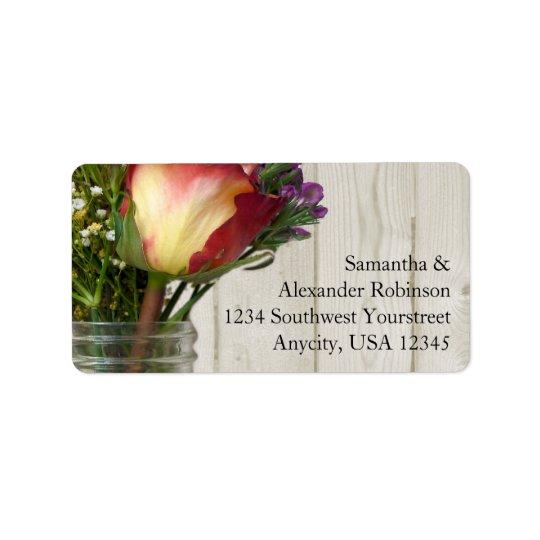 Mason Jar w/Rose and Wildflowers Address Label
