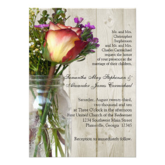 Mason Jar w Rose Photographic Wedding Ceremony Custom Invitation