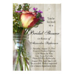 Mason Jar w/Rose/Wildflowers Bridal Shower Invite