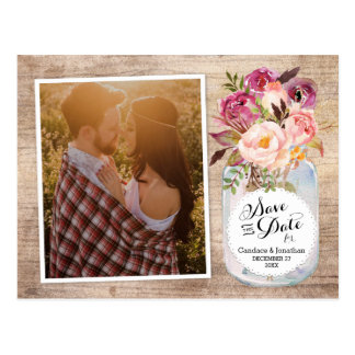 Mason Jar Watercolor Flowers Photo Save the Date Postcard