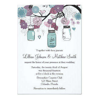 Mason Jar Wedding Invitation - Purple and Blue