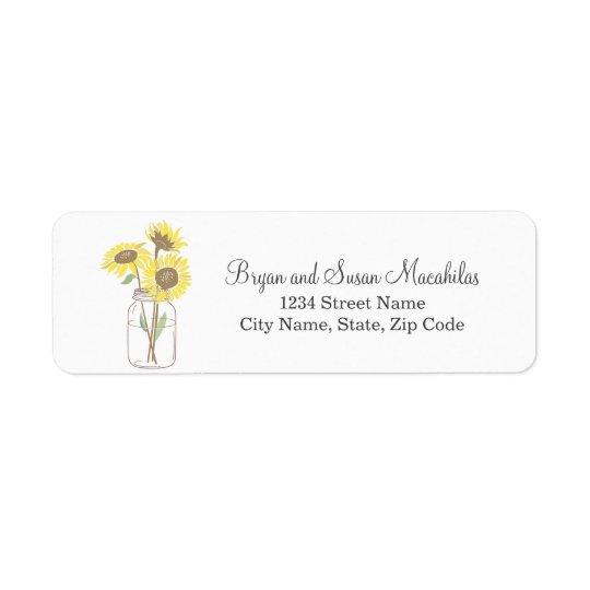 Mason Jar Wedding Return Address Label