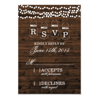 Mason Jar Wedding RSVP Card
