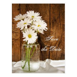 Mason Jar White Daisies Barn Wedding Save the Date Postcard