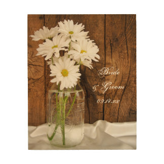 Mason Jar White Daisies Country Wedding Keepsake Wood Wall Decor