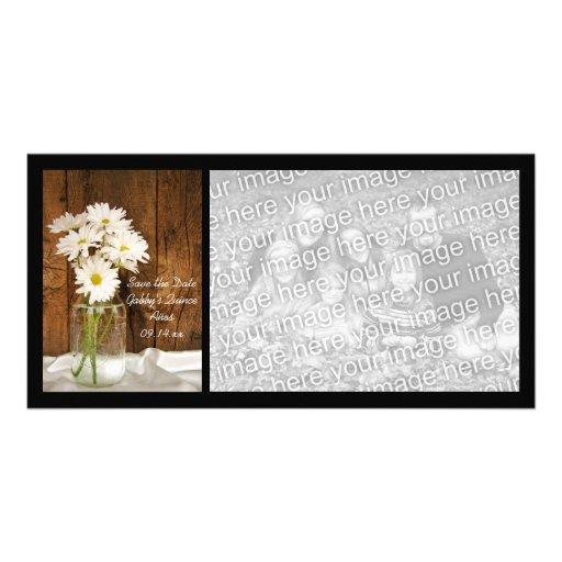 Mason Jar White Daisies Quinceañera Save the Date Customized Photo Card