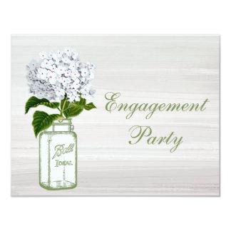Mason Jar & White Hydrangea Chic Grey Engagement Card