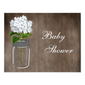 Mason Jar & White Hydrangea Rustic Baby Shower 11 Cm X 14 Cm Invitation Card