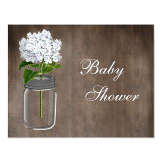 Mason Jar & White Hydrangea Rustic Baby Shower 11 Cm X 14 Cm Invitation Card
