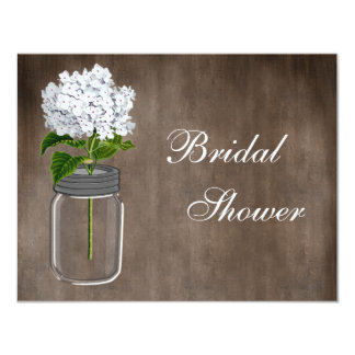 Mason Jar & White Hydrangea Rustic Bridal Shower 11 Cm X 14 Cm Invitation Card