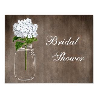 Mason Jar & White Hydrangea Rustic Bridal Shower Card