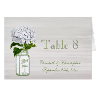 Mason Jar & White Hydrangea Wedding Table Number