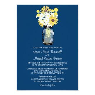 Mason Jar Wild Daisies Sunflowers & Billy Balls 13 Cm X 18 Cm Invitation Card