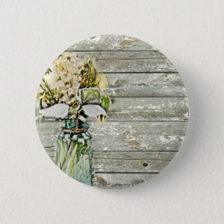 Mason jar wildflower barn wood french country 6 cm round badge
