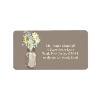 Mason Jar & Wildflowers Address Label