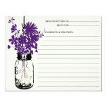 Mason Jar & Wildflowers Recipe Card 11 Cm X 14 Cm Invitation Card