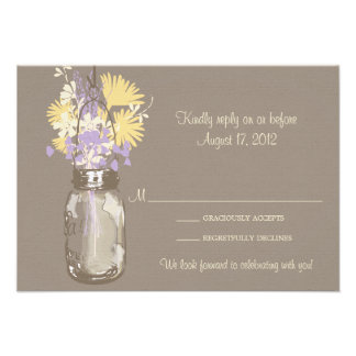Mason Jar & Wildflowers RSVP Card Invitations