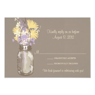 Mason Jar & Wildflowers RSVP Card Invitations