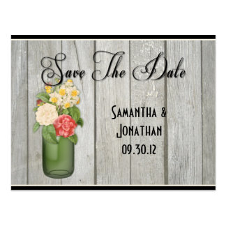 Mason Jar Wildflowers Wooden Boards Save The Date Postcard