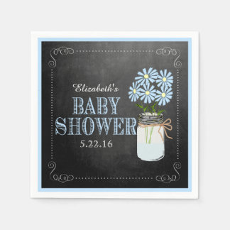 Mason Jar With Blue Flowers Baby Shower Paper Napkins