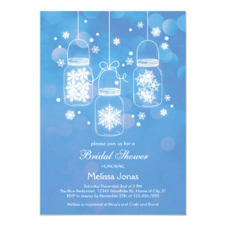 Mason Jar with Snowflakes Bridal Shower Invitation