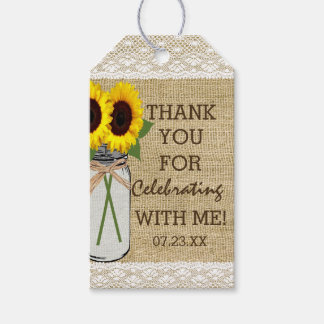 Mason Jar with Sunflowers Bridal Shower Gift Tags