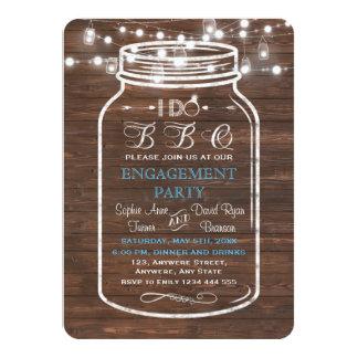 Mason Jar Wood String Lights I DO BBQ Engagement Card
