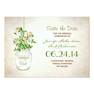 mason jar & yellow roses save the date 5x7 paper invitation card