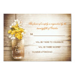 Mason jar & yellow white flowers wedding RSVP card Personalized Announcements