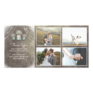 Mason Jars and Baby's Breath Rustic Wedding Card