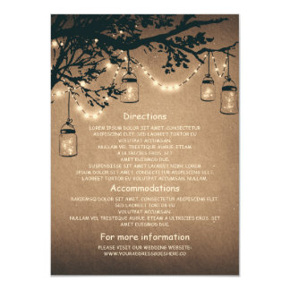 mason jars and fireflies wedding information cards 11 cm x 16 cm invitation card