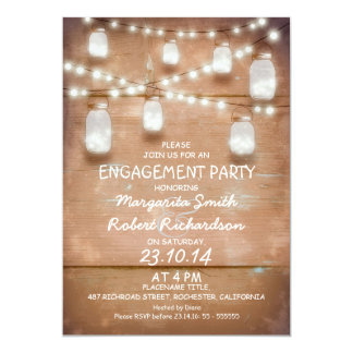 mason jars and lights engagement party invitation