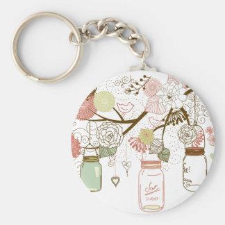 Mason Jars and Pretty Flowers Basic Round Button Key Ring