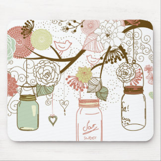 Mason Jars and Pretty Flowers Mouse Pad