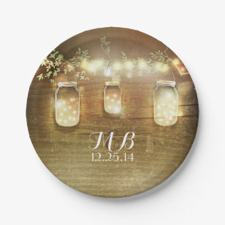 Mason Jars and String Lights Rustic Paper Plate