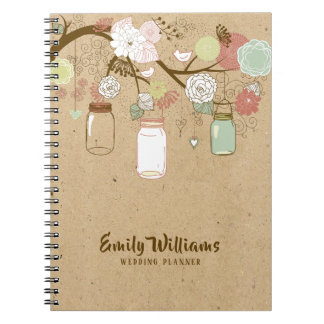 Mason Jars & Colorful Retro Flowers Wedding Design Notebooks
