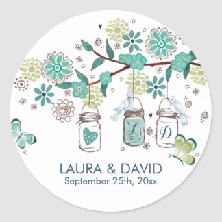 Mason Jars Garden Wedding | Circle Sticker