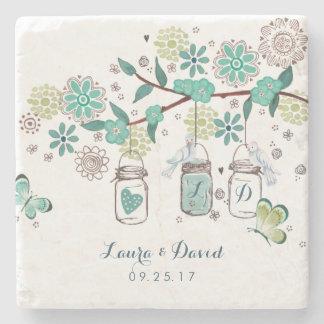 Mason Jars Garden Wedding | Custom Marble Coaster Stone Coaster