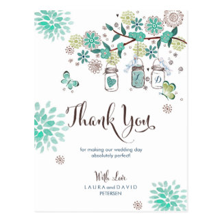 Mason Jars Garden Wedding | Thank you Card