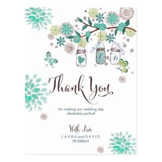 Mason Jars Garden Wedding | Thank you Card Postcard