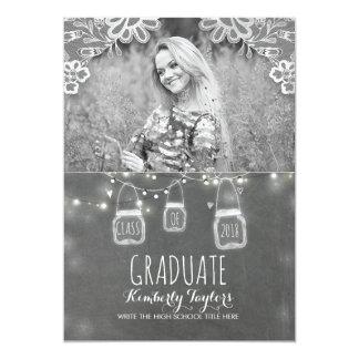 Mason Jars Lights and Lace Rustic Photo Graduation Card