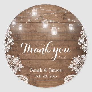 Mason Jars Lights Lace Rustic Wood Wedding Favor Classic Round Sticker